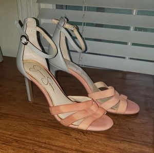 NWOT open toed heel - pink and gray